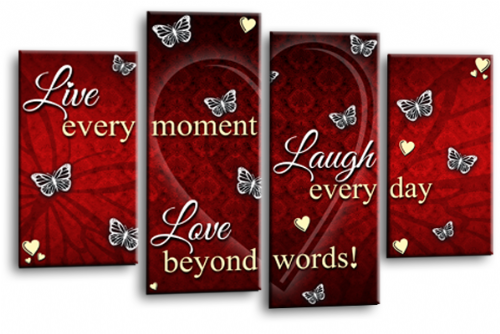 Love Quote Canvas Wall Art Picture Live Laugh Print Red Cream